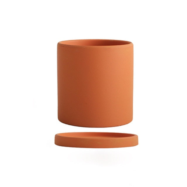 orange ceramic Planter cylinder shape