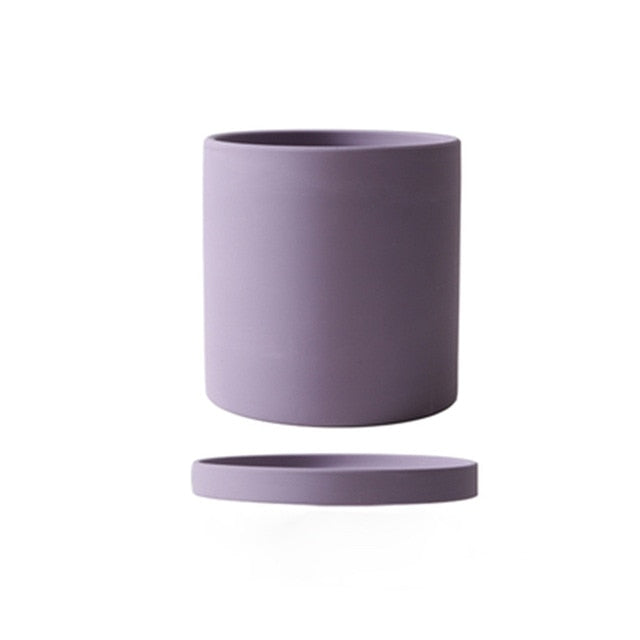 purple ceramic Planter cylinder shapec