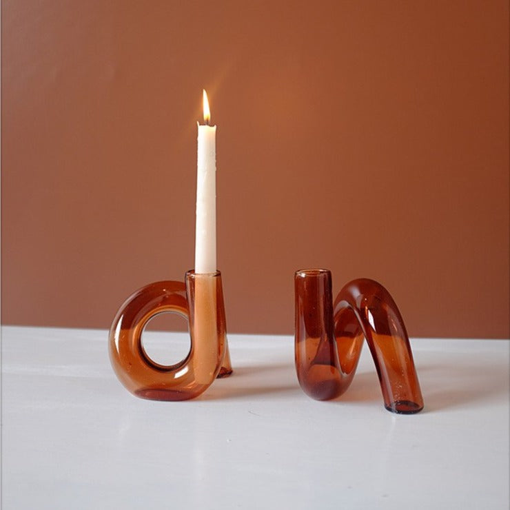 Colored Glass Loop Candle and flower Vase
