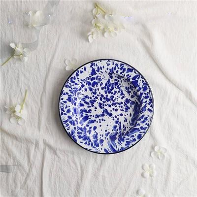 Blue Marbling Enamel Plates 4pc Set