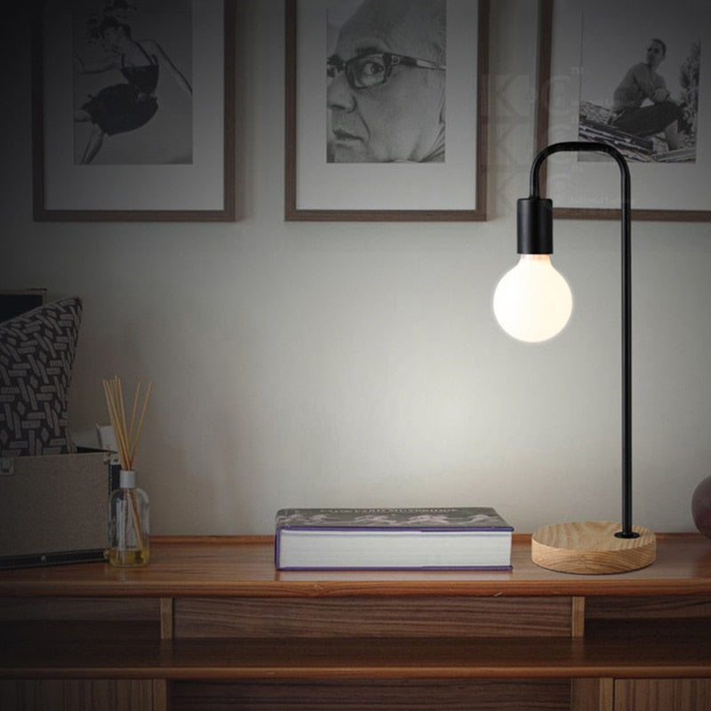 industrial metal wooden black shadeless desk lamp