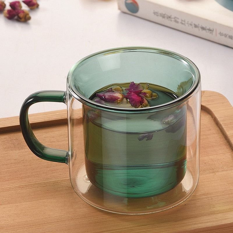 Double Wall Glass Mug green
