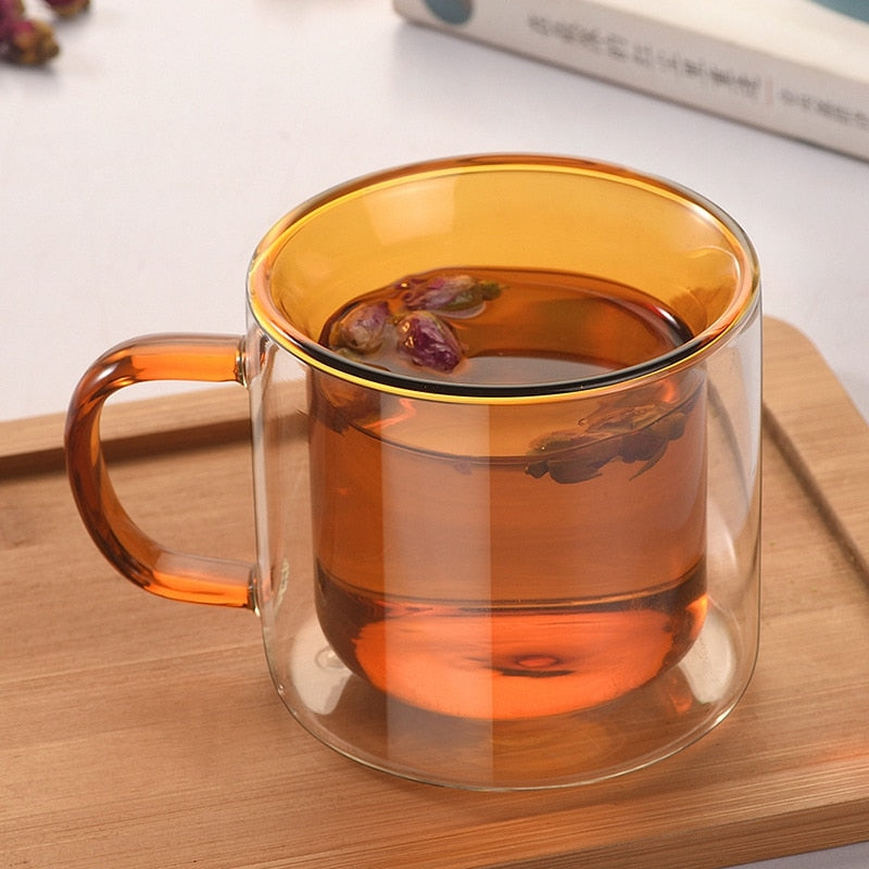 Double Wall Glass Mug  brown