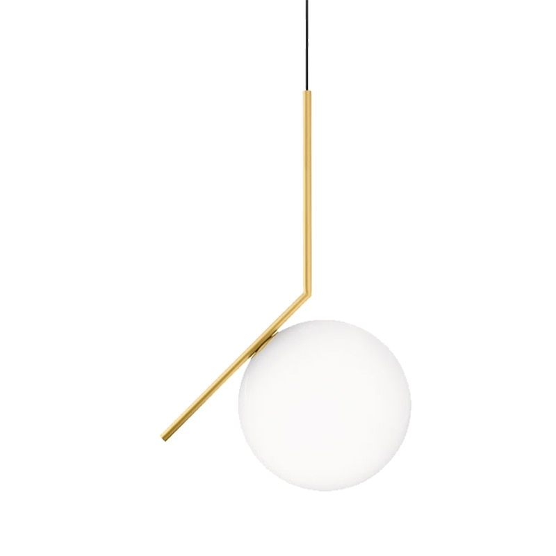Suspension Sphere Glass & Brass Pendant Light