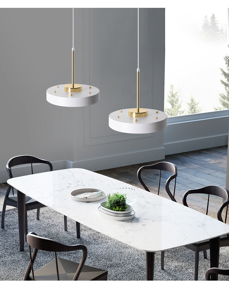 round flat iron white pendant light