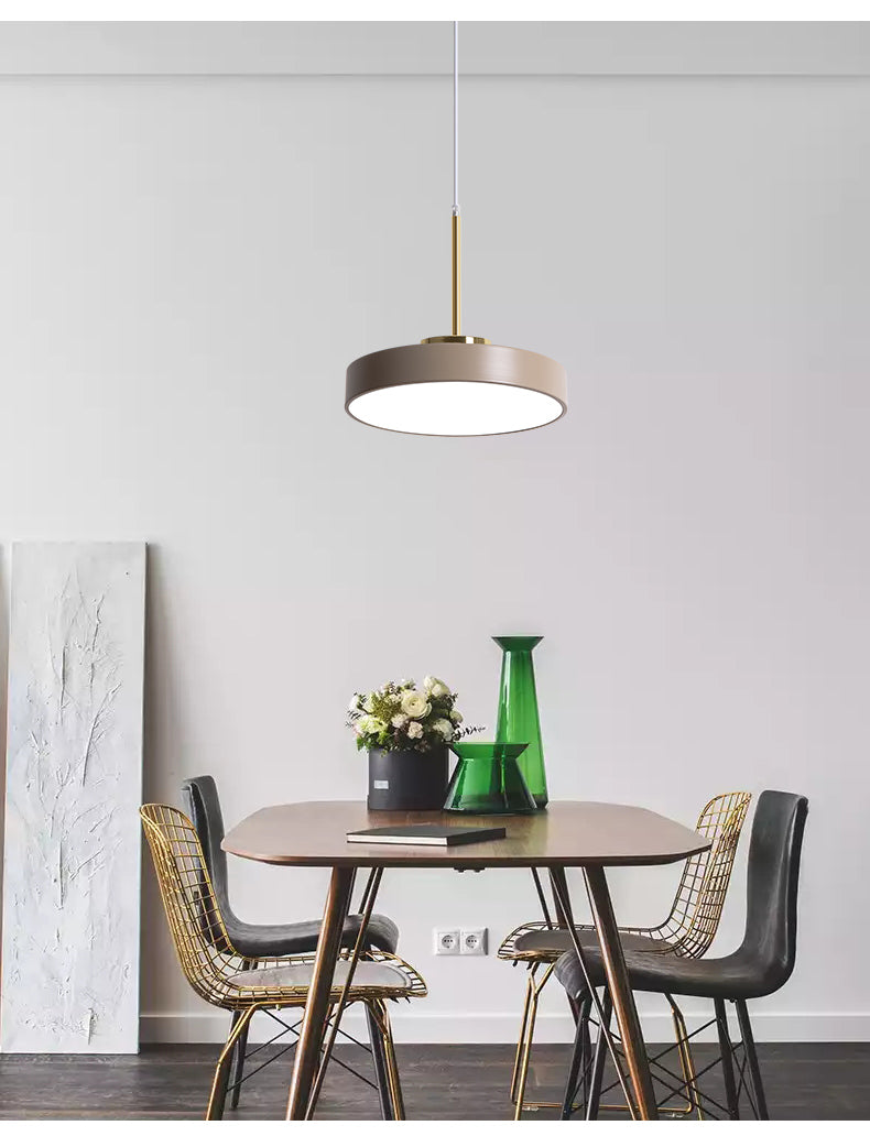 round flat iron taupe  pendant light