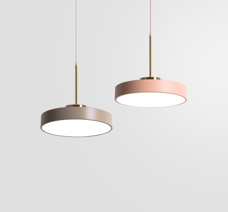 round flat iron taupe pink pendant light
