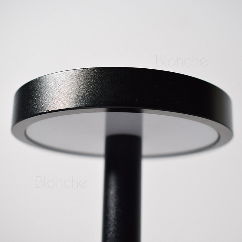 black LED Table Lamp with Rechargeable USB Batteries Restaurant Outdoors Waterproof