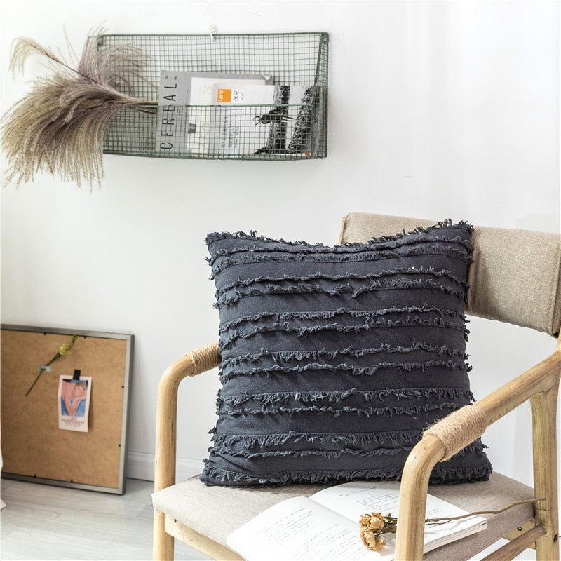 square Cotton Polyester Embroidered tassel grey cushion cover with zipper