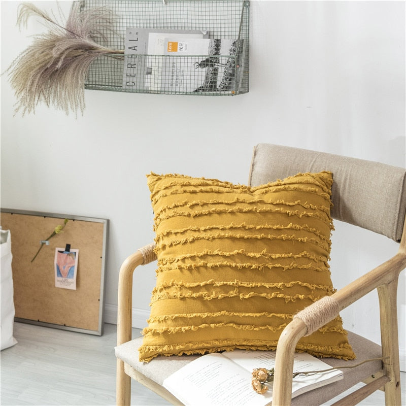 square Cotton Polyester Embroidered tassel yellow cushion cover with zipper