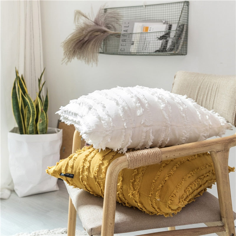square Cotton, Polyester Embroidered tassel yellow white  cushion cover with zipper