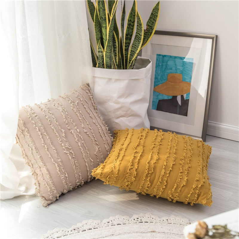 square Cotton, Polyester Embroidered tassel yellow .beige cushion cover with zipper