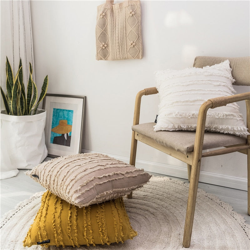 square Cotton, Polyester Embroidered tassel yellow white beige  cushion cover with zipper