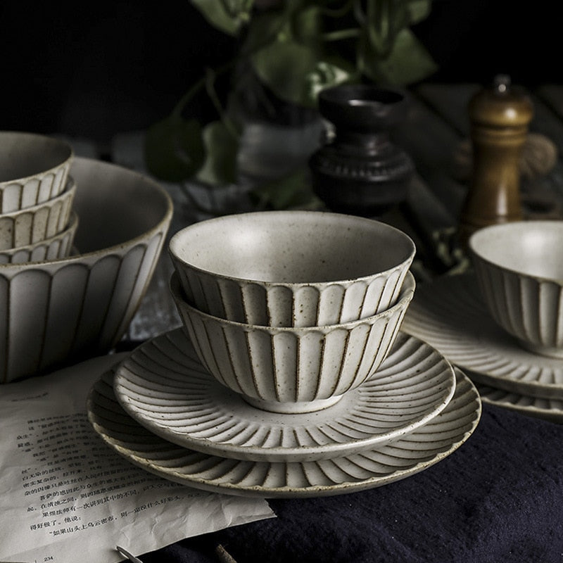 round scalloped edge vintage off white ceramic dinnerware set