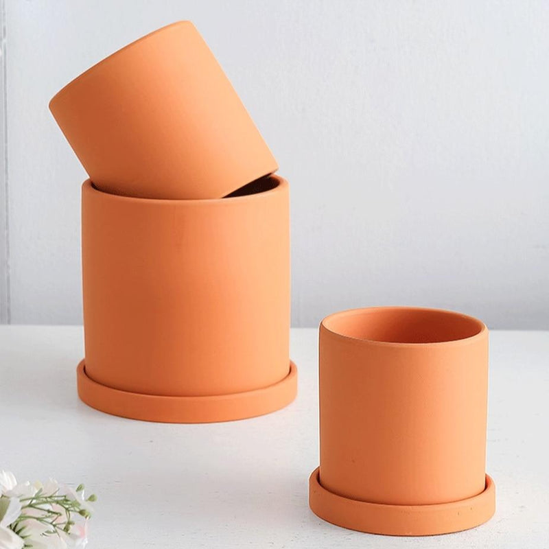 yellow ceramic Planter cylinder shape