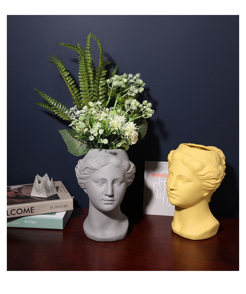 Neoclassical face ceramic resin planter with bottom pot hole