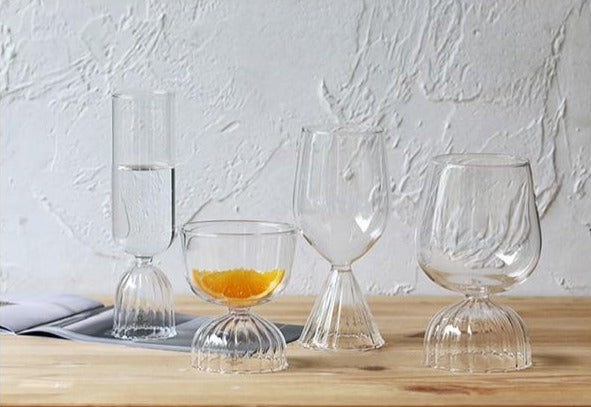 round Borosilicate Glass with scallop edge stand glass cups