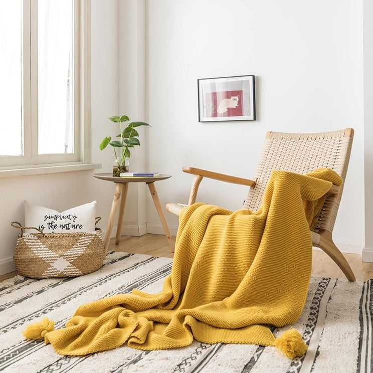 Purl Knit Throw with Tassels