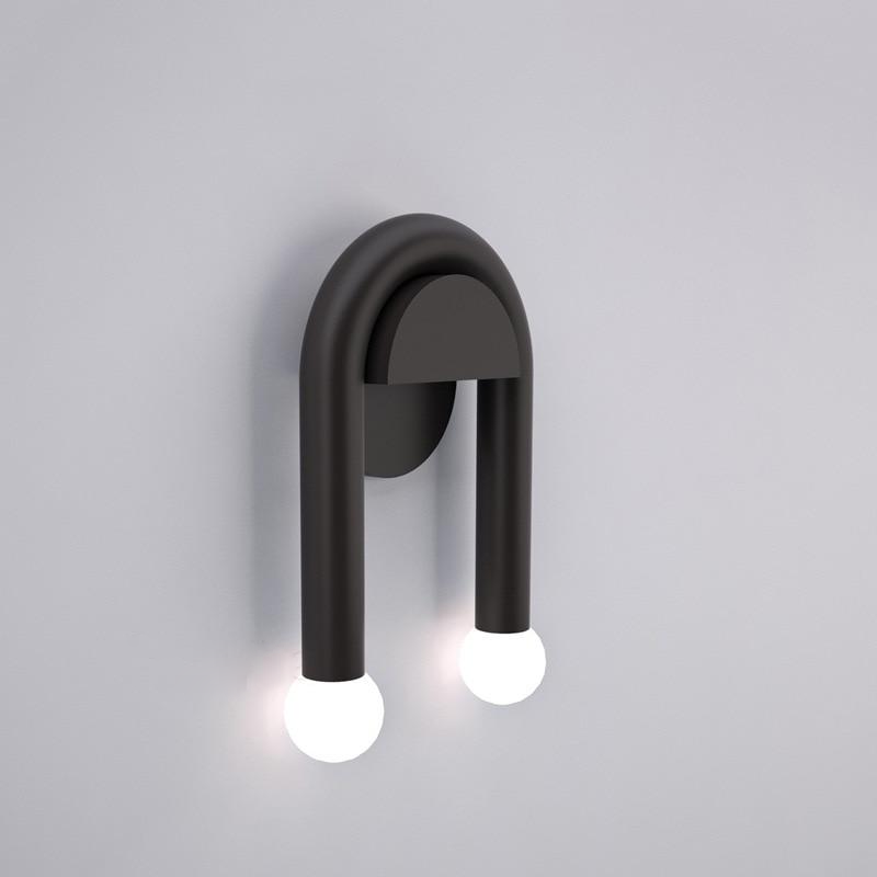 arched round metal double light black wall sconce