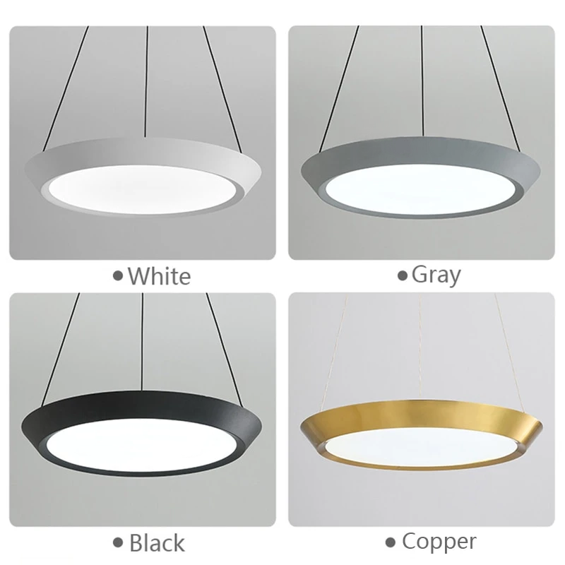flat round white black grey gold LED hanging ceiling pendant light