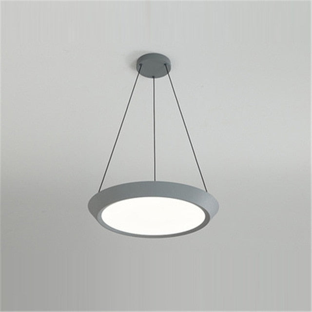 flat round grey LED hanging ceiling pendant light