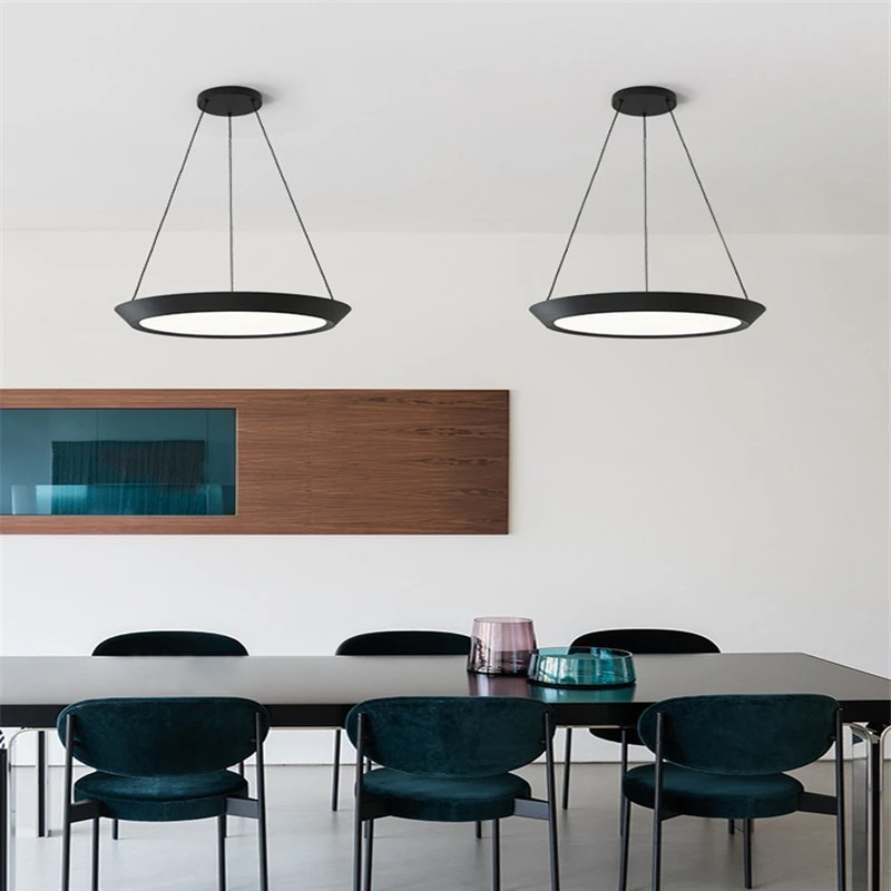 flat round black LED hanging ceiling pendant light