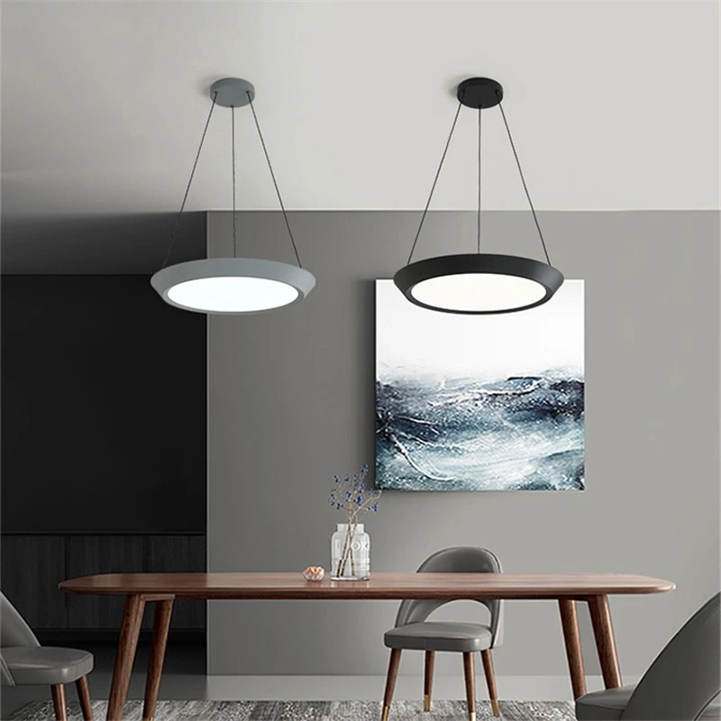 flat round grey black LED hanging ceiling pendant light