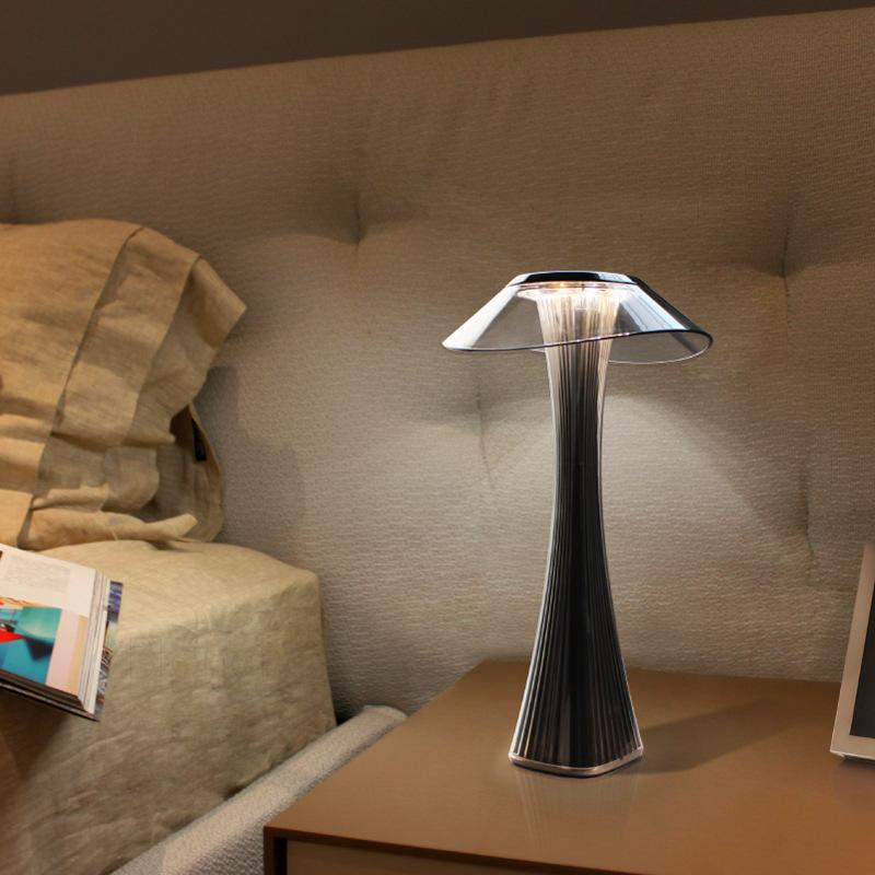 mushroom acrylic black dimmable LED table lamp with rechargeable batteries