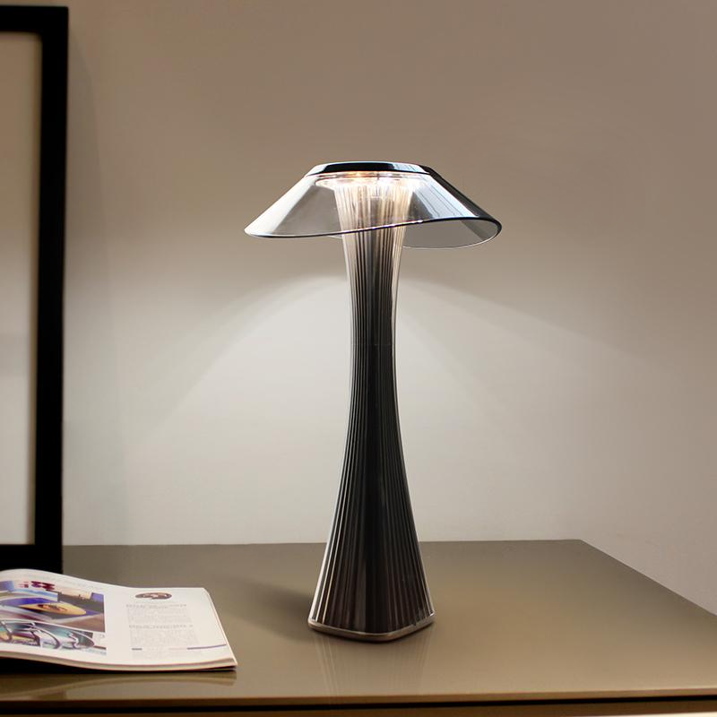 mushroom acrylic black dimmable LED table lamp