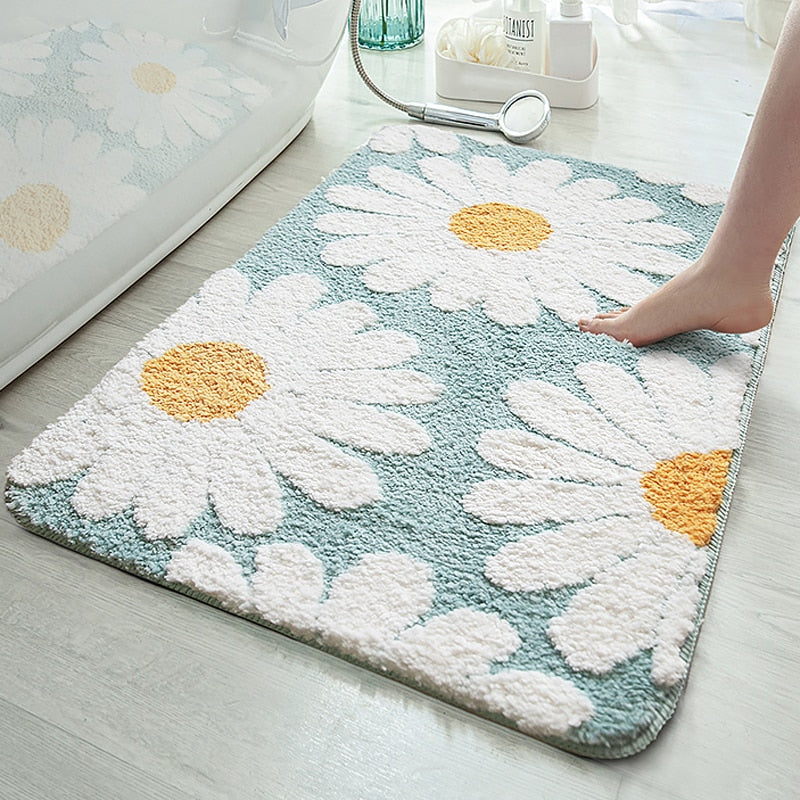 rectangle polyester water absorbent white daisy powder blue bath mat
