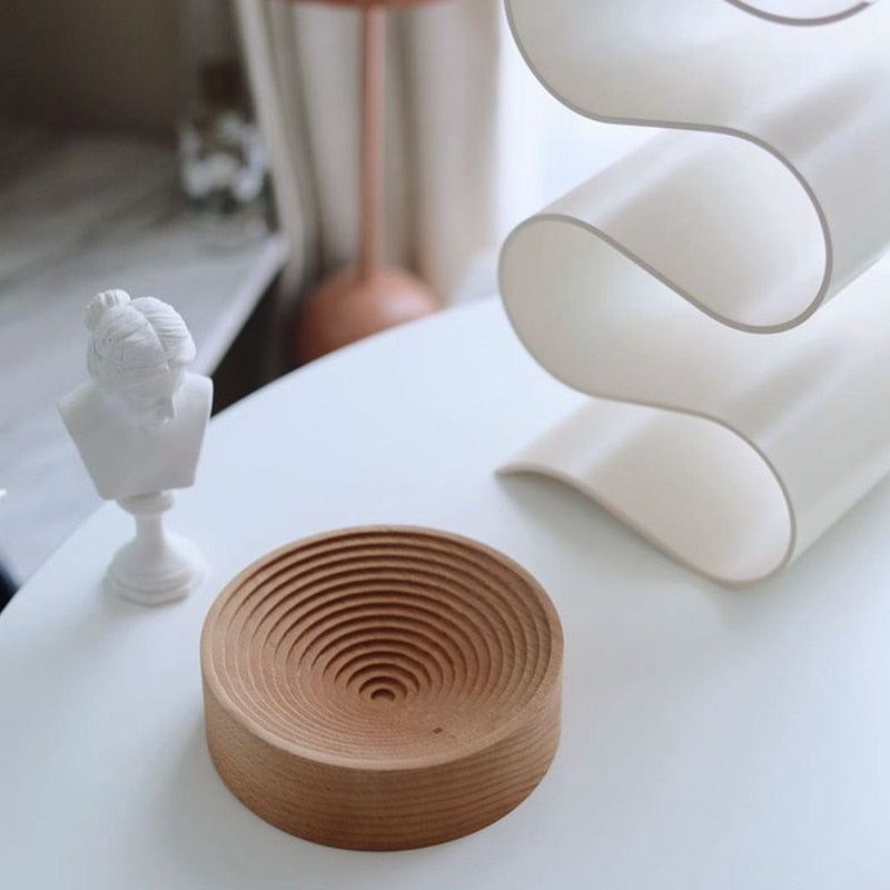 round spiral nordic wooden tray candle holder storage organizer