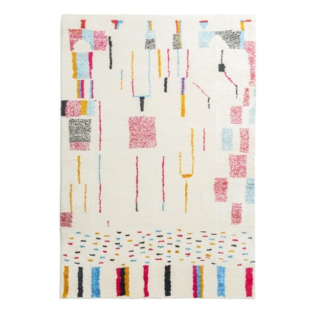 retangle Printed Fleece white multicolor area rug