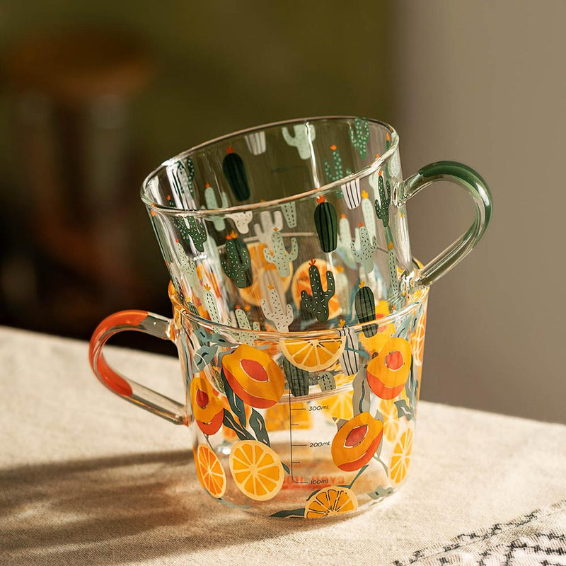 borosilicate glass peach cactus pattern with scale water cups