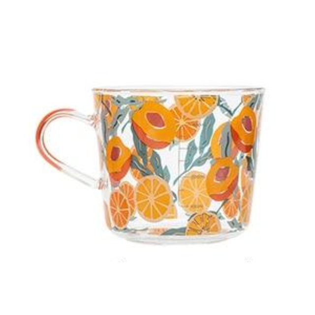 borosilicate glass yellow peach pattern with scale cup