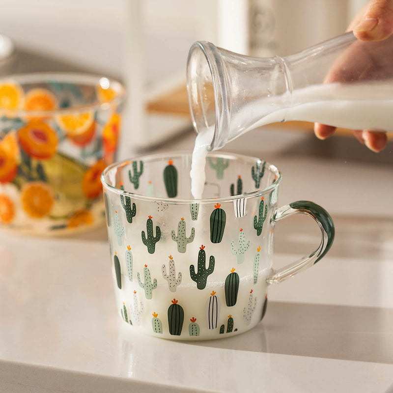 borosilicate glass green cactus pattern with scale cup