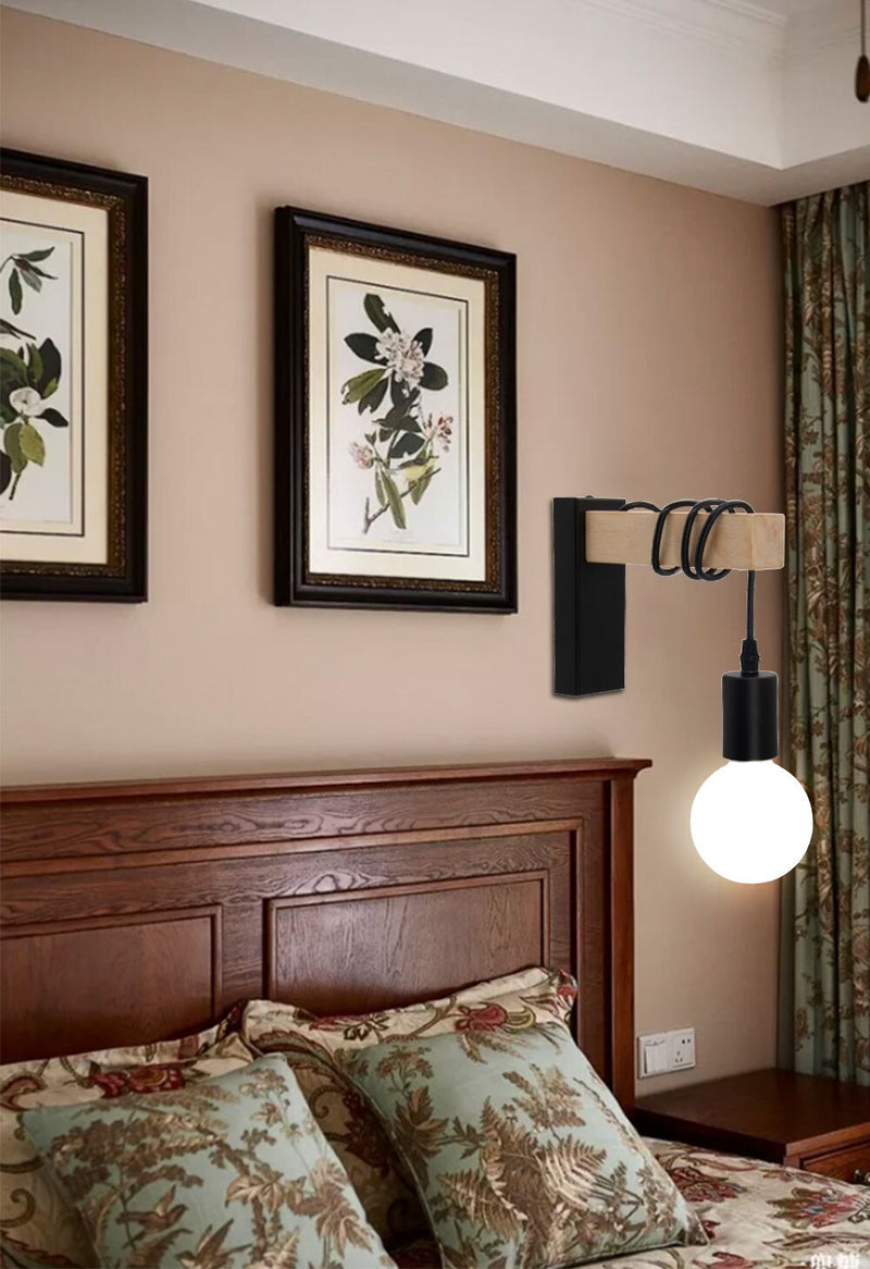 wall hanging wooden black wall sconce