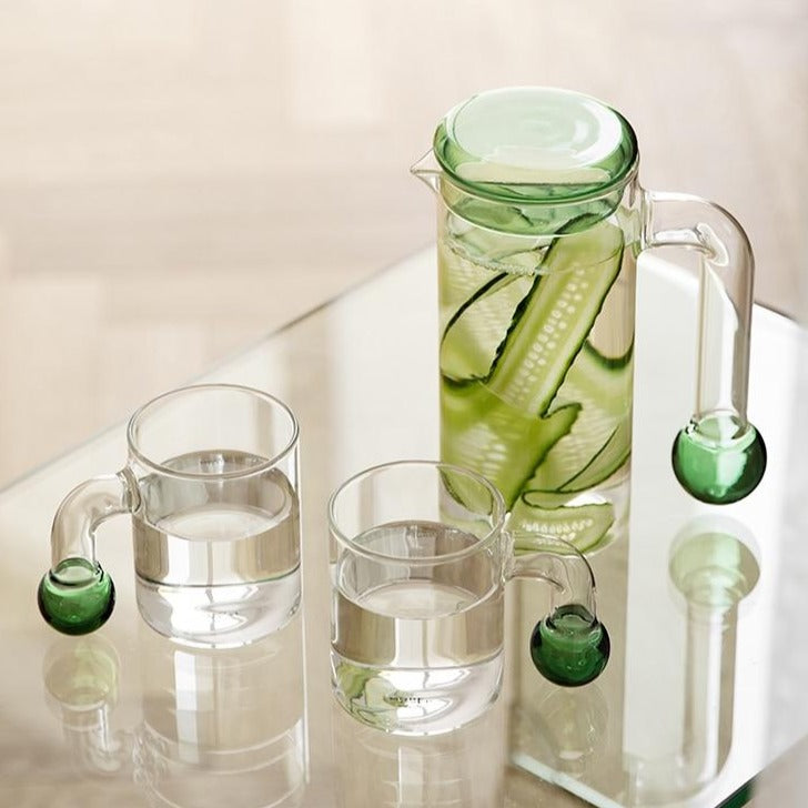 cylinder Borosilicate Glass with green sphere end handle clear glass pitcher and cups