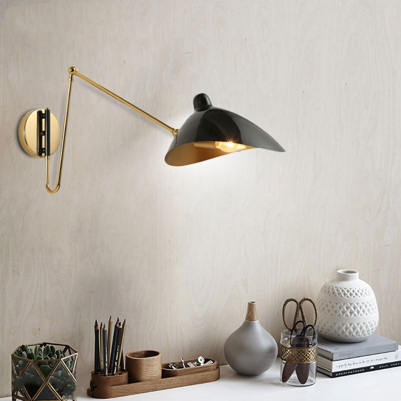 rotatable iron black brass shade wall lamp