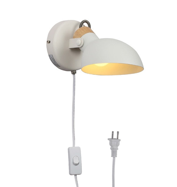 half sphere metal wood white matte wall lamp with plug