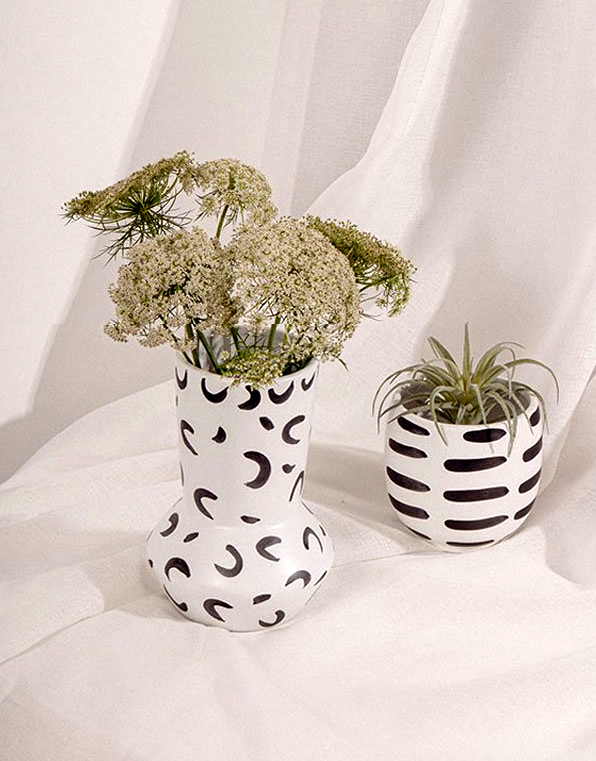 cylinder round hand-painted white ceramic vase