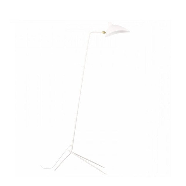 cone iron base aluminum shade industrial white floor lamp