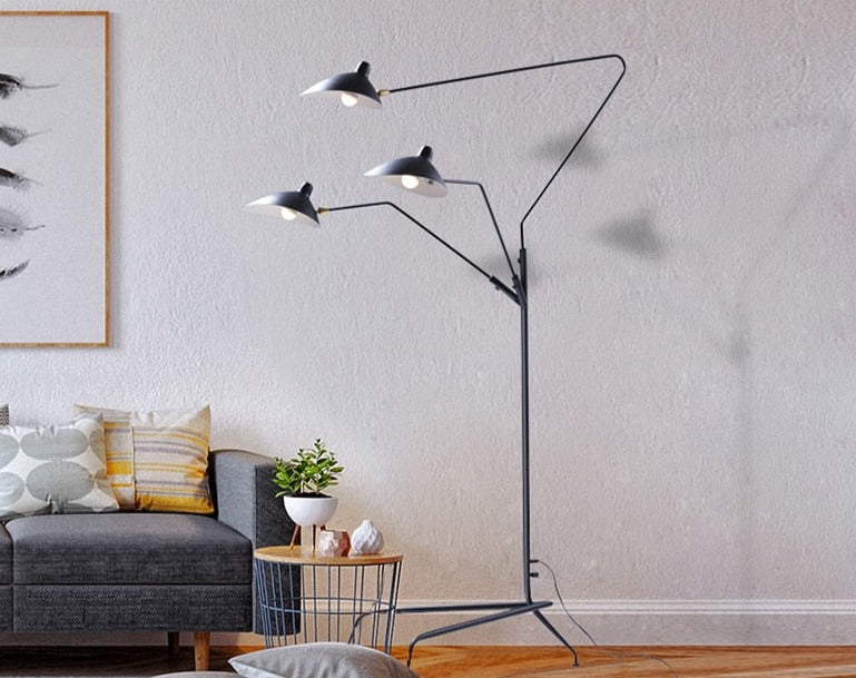 cone iron base aluminum shade industrial black floor lamp with 3 lights