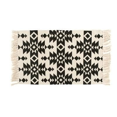 Ethnic Geo Area Rug in Cotton Canvas for Bath, Bed, Living Room