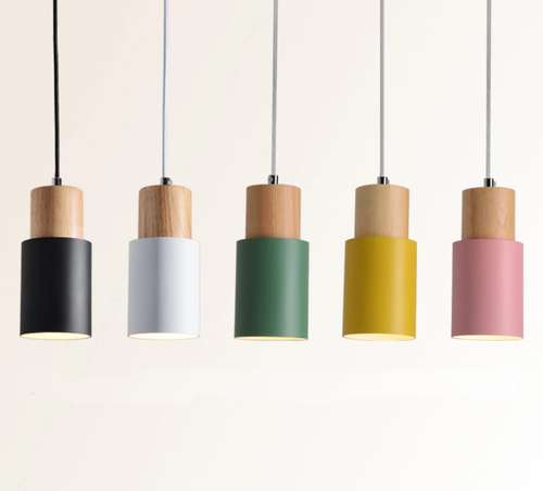 Retro Minimalist Pendant Light and Spotlight in Metal and Wood with LED light