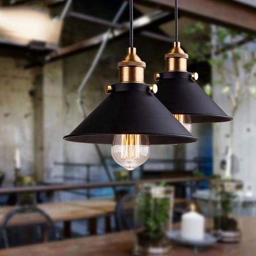 Minimalist Industrial Pendant Light with LED Bulbs and Gold Metal Black