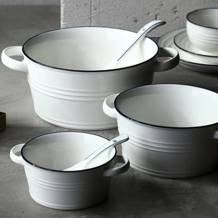 Cheap white Ceramic Serving Bowls with handles