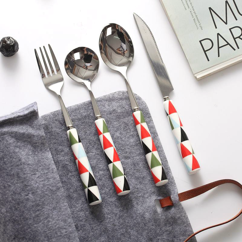 Painted Ceramic and Silver Stainless Steel  4PC Flatware Set