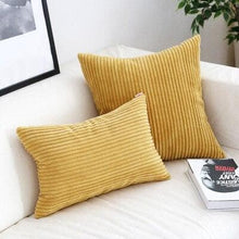 Load image into Gallery viewer, Corduroy Cushion Covers in Bright colors 17x17 24x24 Ochre
