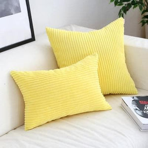 Corduroy Cushion Covers in Bright colors 17x17 24x24 Yellow