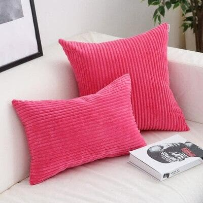 Corduroy Cushion Covers in Bright colors 17x17 24x24 Fuscia Pink